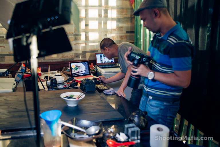 Tethered shooting of Japanese food in Paranaque City by Food Photographer Shooting Mafia