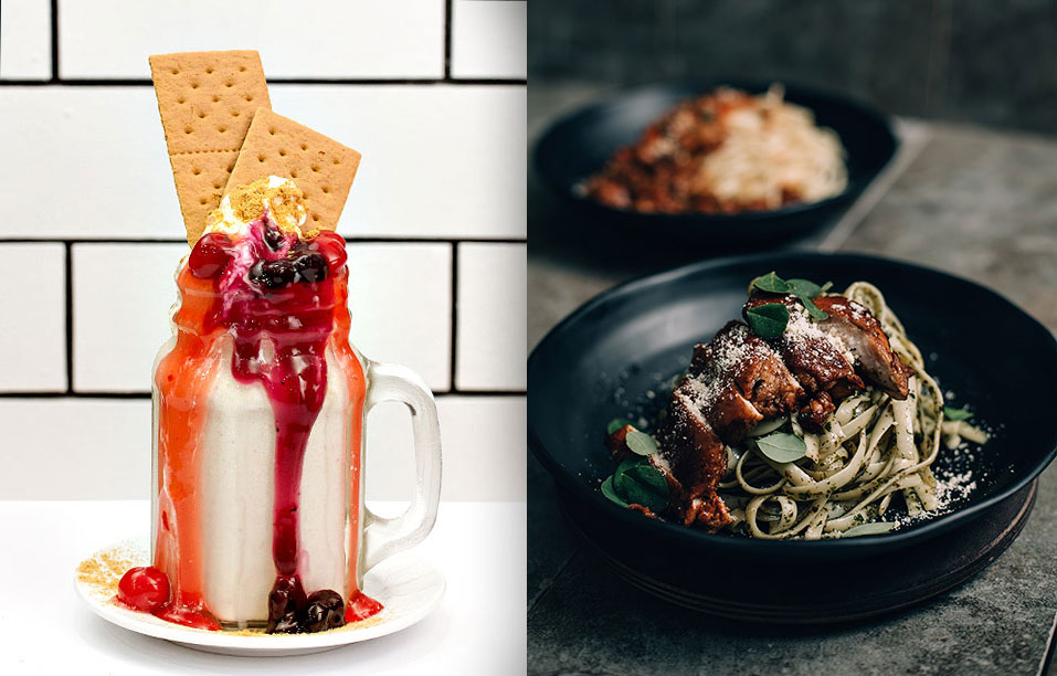 Food photography using available restaurant backdrop for branding